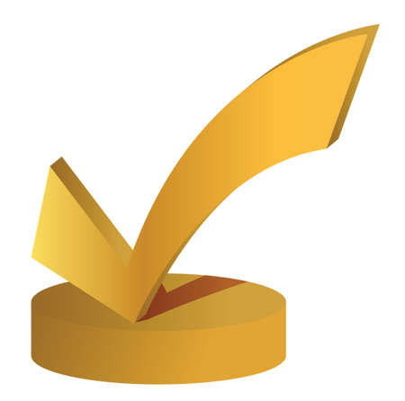 check mark trophy illustration design over a white background Ilustracja