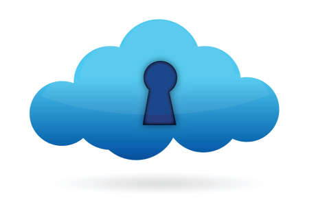 private access: cloud lock sign illustration design over a white background