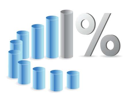 白でグラフとパーセンテージ記号のイラスト デザイン  イラスト・ベクター素材