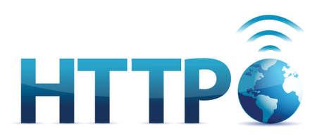 http en wereldbol illustratie ontwerp op een witte achtergrond Stock Illustratie