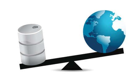 olie en wereldbol balans illustratie ontwerp op een witte achtergrond