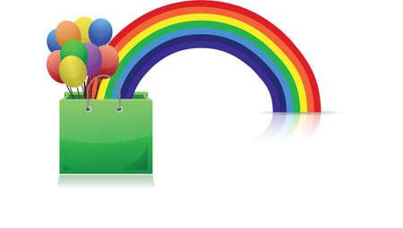 shopping bag, rainbow and balloons illustration design Stock Vector - 16329805