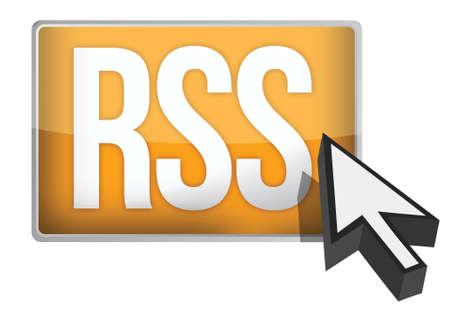 Rss oranje knop illustratie ontwerp op een witte achtergrond Stock Illustratie