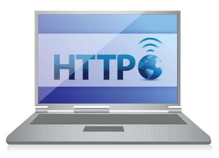 http: http Laptop Internet-Konzept, Illustration, Design in wei�