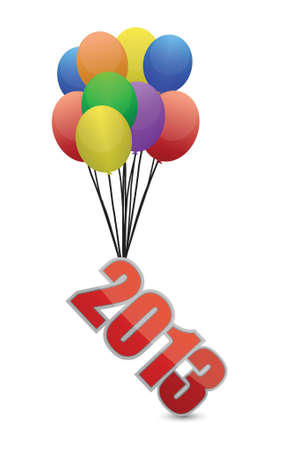 2013 flying away and balloons illustration design over white Vector