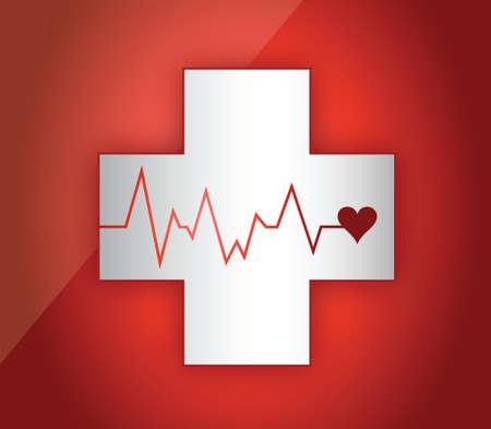 빨간색 배경 위에 의료 생명선 그림 디자인