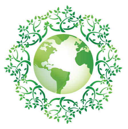 save planet: globe and leaves around illustration design over a white background