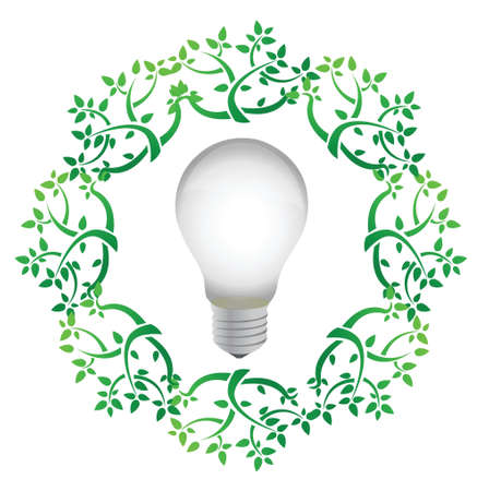 fixture: lightbulb leaves illustration design over a white background