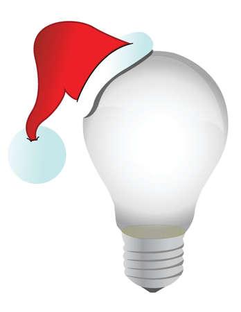 santa cap: santa hat and lightbulb illustration design over a white background Illustration