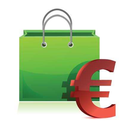 shopping bag and euro symbol illustration design over white