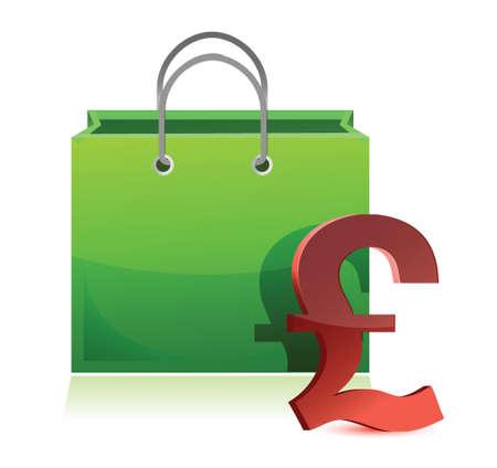 shopping bag and pound symbol illustration design over white Illustration