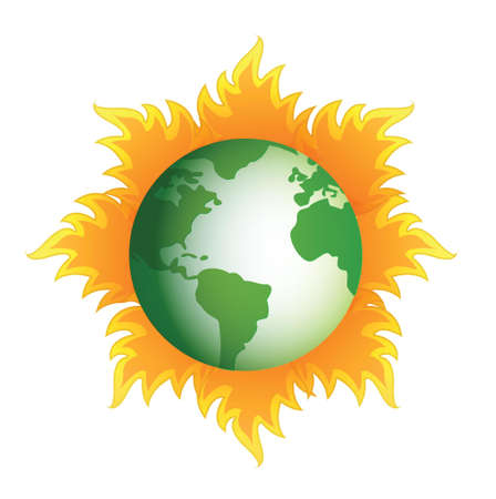 globe with fire around it illustration design over white Stock Vector - 16380115