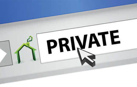 private information: internet browser with the word private illustration design Illustration
