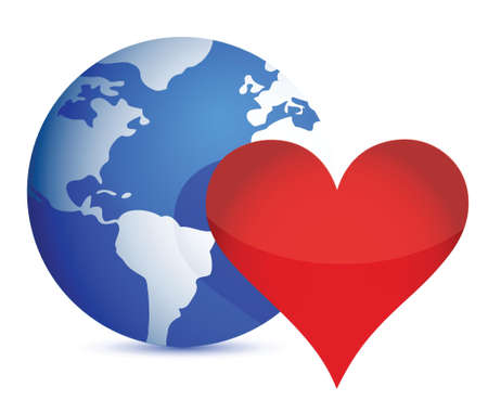 globe and heart illustration design over a white background Stock Vector - 16380060