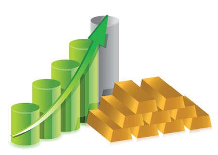 analytic: gold bars and graph illustration design over white Illustration