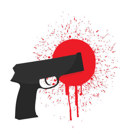 gun and blood illustration design over white