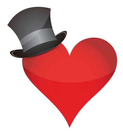 heart with hat illustration design over a white background