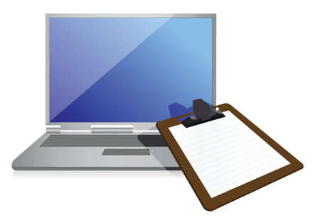 computer education: clipboard and laptop illustration design over a white background
