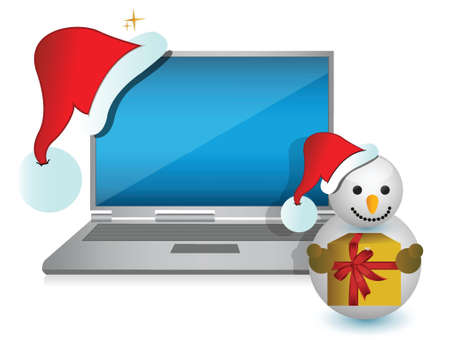 christmas technology present illustration design over white Vector