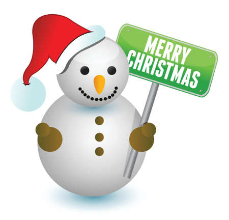 snowman and merry christmas sign over a white background