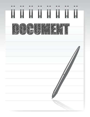 notepad document illustration design background over white Stock Vector - 16380051