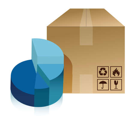 pie chart and box illustration design over a white background Stock Vector - 16379985