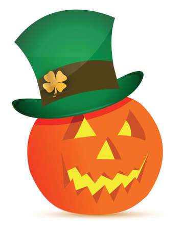 halloween pumpkin and saint patricks hat illustration design Vector