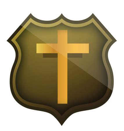 白い背景の上の宗教的なシールド イラスト デザイン  イラスト・ベクター素材
