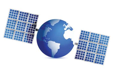 globe satellite illustration design over a white background Stock Vector - 16380004