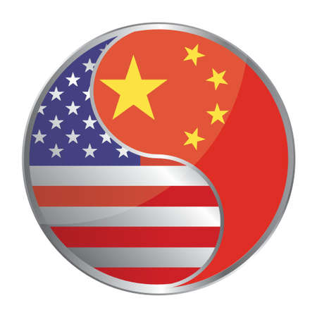 chinese flag: US and china working together illustration design over white