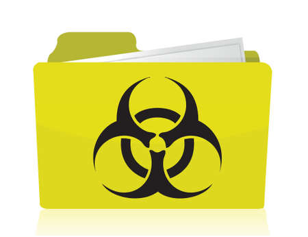 caution chemistry: folder with a biohazard symbol in front illustration design Illustration