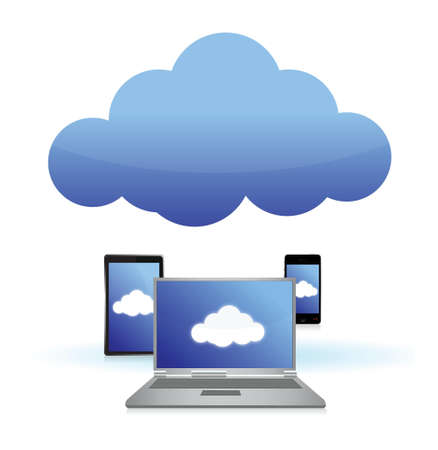 syncing: cloud computing connected to technology illustration design over white