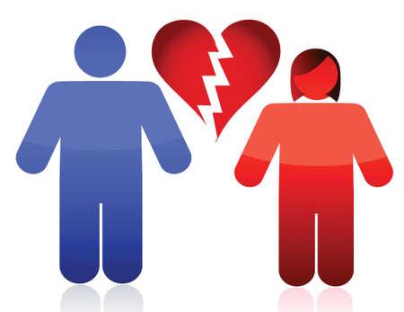 seperation: divorce couple illustration design over a white background design