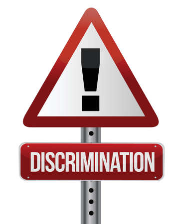 discrimination warning sign illustration design over a white background Illustration
