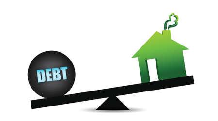 debt and residence balance illustration design over white Stock Vector - 16438092