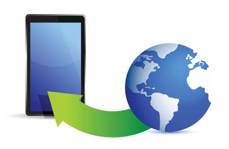 globe and tablet illustration design over white Stock Vector - 16437934