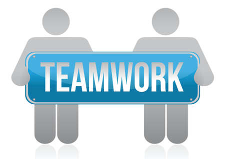 teamwork sign and people illustration design over white Stock Vector - 16437771