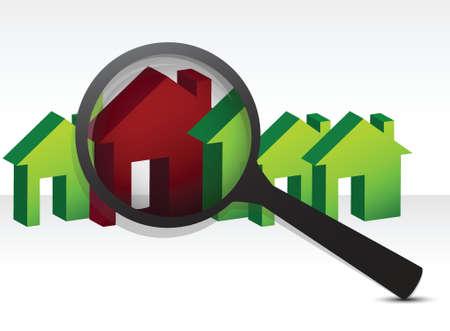 op zoek naar het perfecte huis illustratie ontwerp over wit Stock Illustratie