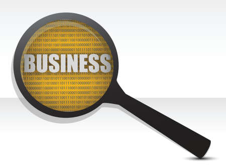 stratgy: business under a magnify glass illustration design over white