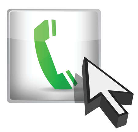 closet communication: phone button and cursor illustration design over a white background