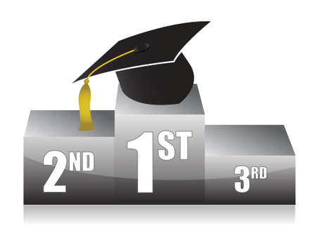 podium: education on top of the podium illustration design