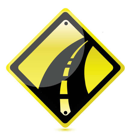 yellow highway sign illustration design over white Vector
