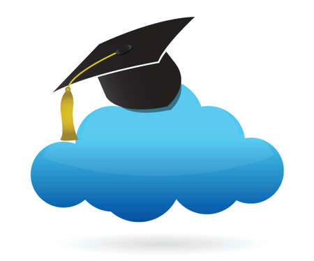 cloud and education hat illustration design over white Stock Vector - 16437827