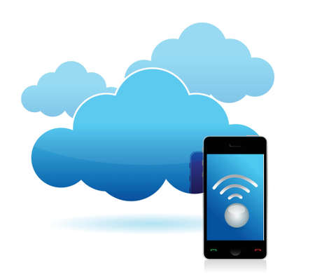 customer service phone: cloud and phone wifi connected illustration design over white