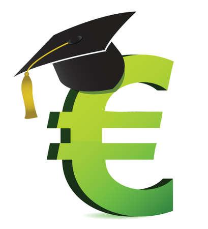 onderwijs: onderwijs kosten in illustratie euro's ontwerp op een witte achtergrond