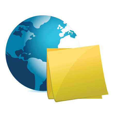 globe and post it illustration design over white background
