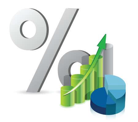 grafico grafico a torta e la percentuale di sconto di design, illustrazione, sopra, bianco
