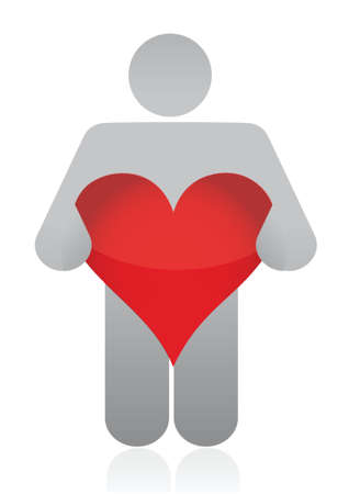 fullbody: icon holding a heart illustration design over a white background Illustration