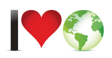 environmental awareness: I love earth illustration design over a white background