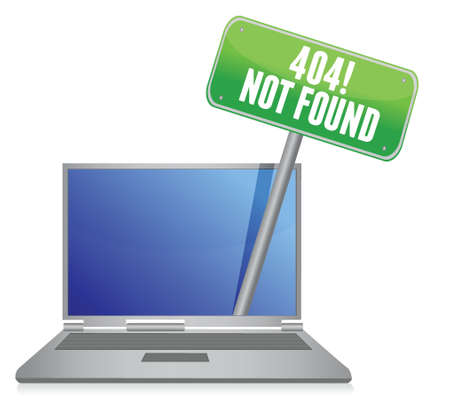 laptop with a 404 error message illustration design over white Vector